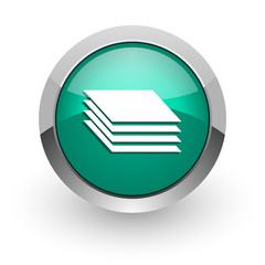 layers green glossy web icon
