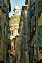 View of old town of Nice, Cathedral Sainte Reparate, France.