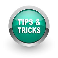 tips tricks green glossy web icon