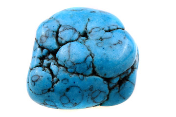 blue turquoise mineral isolated