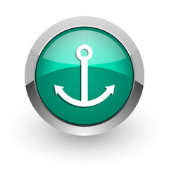 anchor green glossy web icon