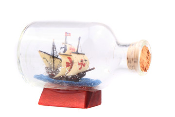 ship in the glass isolated