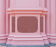 The pink marble plate on the pink wall