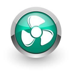 fan green glossy web icon