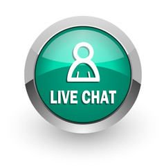 live chat green glossy web icon