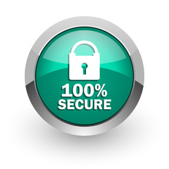 secure green glossy web icon