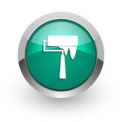 brush green glossy web icon
