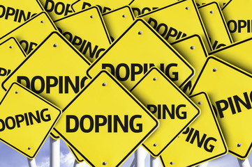 Doping written on multiple road sign