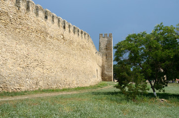 Fortified wall and watchtower in old turkish fortress Akkerman