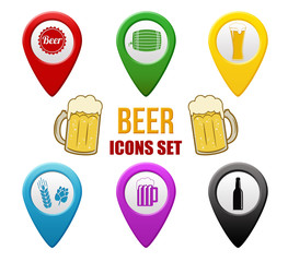 Set of beer locators icons on white background