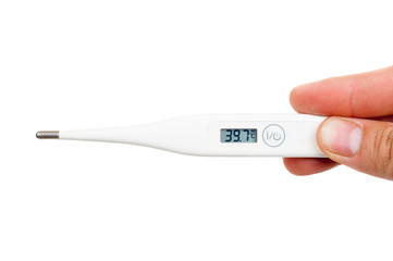 Digital thermometer showing high temperature