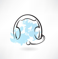 headset with microphone grunge icon
