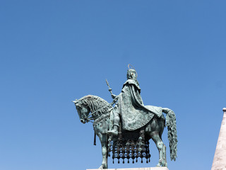 St Stephan statue on Fishermans Bastion Budapest Hungary