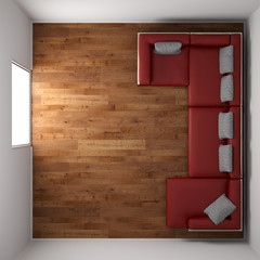 small room with red leather couch top view
