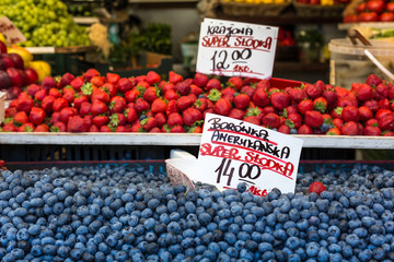 Berries at the farmers market in Poland.