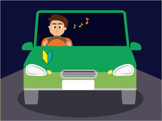 A novice driver driving happily at night, man