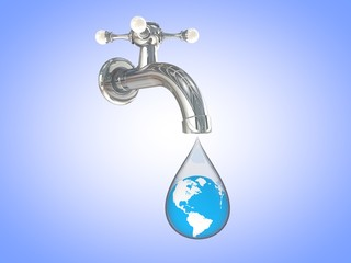 faucet dripping with earth