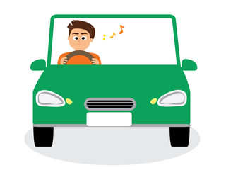 A man driving happily