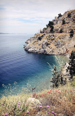 Aegean Sea and Hydra island in Greece