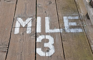 Mile 3 Painted On Boardwalk