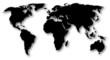 black worldmap with shadow