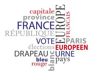 Nuage de mots thème : France, éléctions, république, Europe