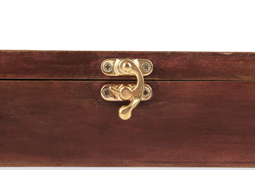 The lock of a wooden casket.