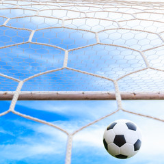 soccer ball may be in goal net