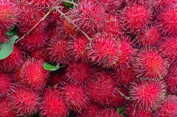 Rambutan Fruit Display For Sell On Small Street In Malwana