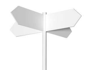Blank white signpost isolated on a white background