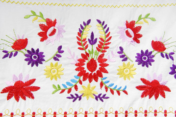 embroidered fabric texture in old style