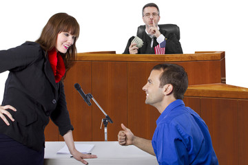 corrupt judge taking bribe in an unfair courtroom trial