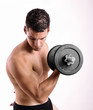 Man with dumbbells weights doing bieps exercise
