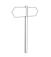 Blank white outline signpost isolated on a white background