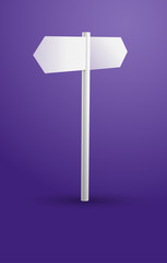 Blank white signpost on a violet background