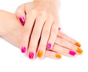 young woman hands with colorful manicure