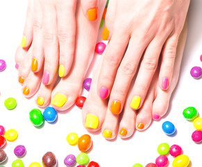 bright manicure and pedicure