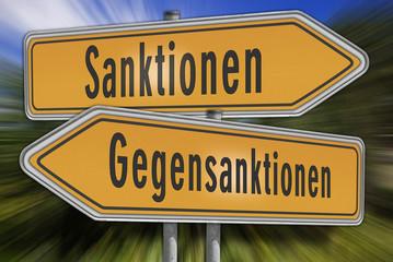 Schild Sanktionen Gegensanktionen