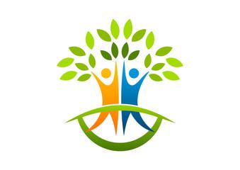 natural healthy tree  human  logo abstract root education