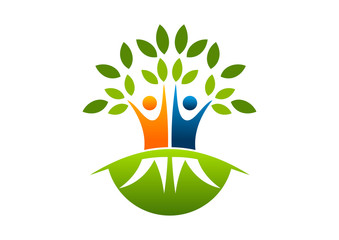 logo natural root tree education