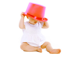 Funny little baby in hat
