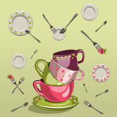 cups with saucers, forks and spoons