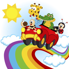 animals traveling by car over the rainbow - vector, eps