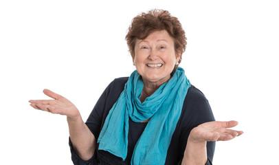 Lebenslustige ältere Frau isoliert