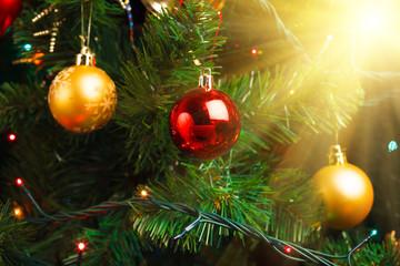 Christmas tree decoration with shiny glare