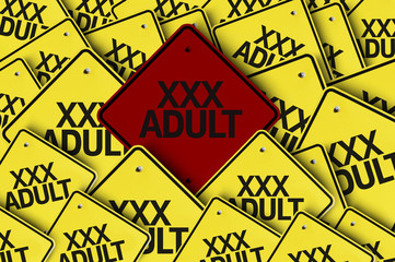 XXX Adult written on multiple road sign