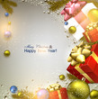 Christmas background with fir twigs, gifts and colorful balls. X