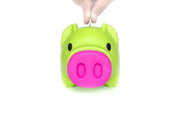 green piggy bank isolated on a white background