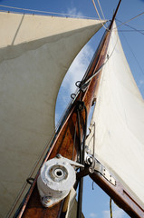 Boat standing and running rigging - mainsail,backstay,ropes