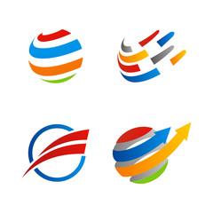 globe sphere orbit communication logo